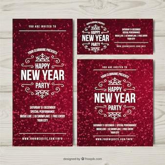Set von abstrakten roten einladungen 2017