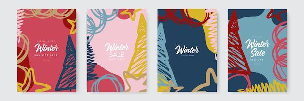 Set von abstrakten winterhintergründen bunte winterbanner mit fallenden schneeflocken verschneite bäume winter...