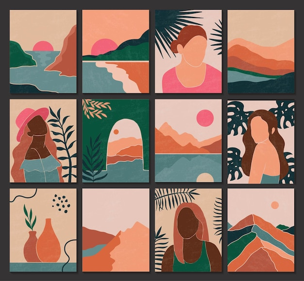 Set von abstrakten zeitgenössischen landschaftsfrauen und hinterlässt silhouetten im boho-stil. mode-papierschnitt-elemente für social-media-poster