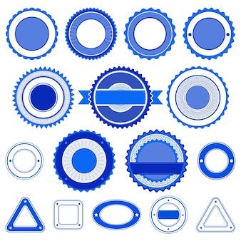 Set von abzeichen, etiketten und aufklebern ohne text. in blauer farbe.