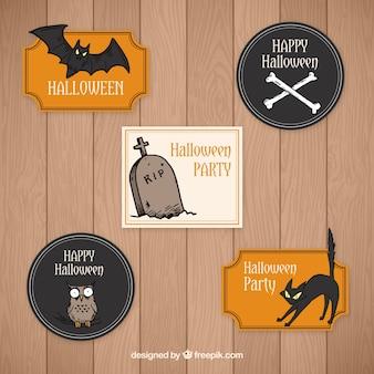 Set von abzeichen mit halloween-elemente