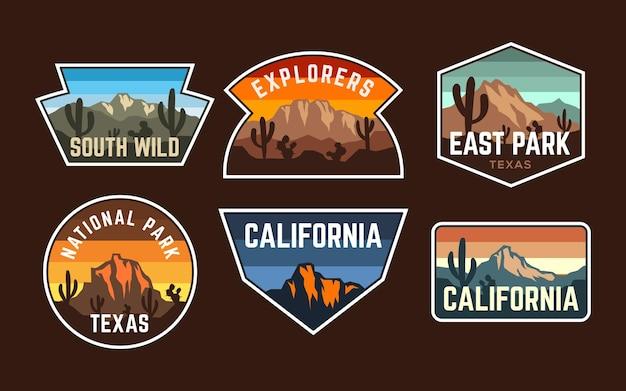 Set von abzeichen-patch-bergwüsten-vintage-retro-stil, aufkleber-emblem-nationalpark-kollektion