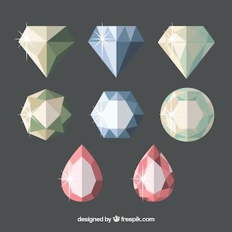 Set von acht edelsteine in flaches design