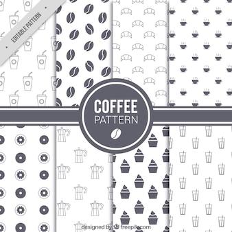 Set von acht kaffee-muster in flaches design