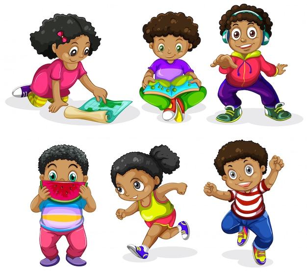 Set von afrikanischen kindern