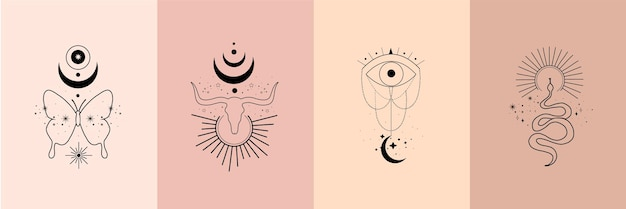 Set von alchemie esoterischen mystischen magischen himmlischen talismanen mit stierschädel, schlange, schmetterling, sonne, mond, sternen, heilige geometrie