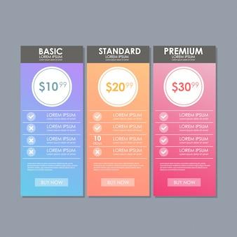 Set von angebotstarifen. ui-ux-banner für web-app. satz preistabelle.
