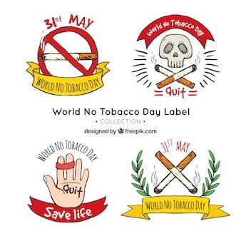 Set von anti-raucher handgezeichneten aufklebern