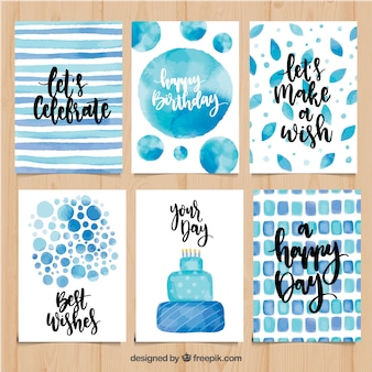 Set von aquarell geburtstagskarten in blautönen