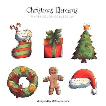Set von aquarell weihnachten elemente