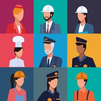 Set von arbeitern profil