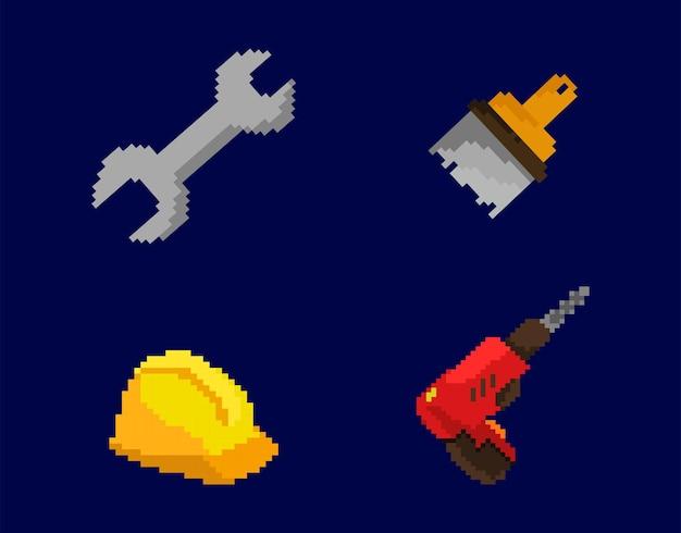 Set von arbeiterwerkzeugen mit pixel-art-stil