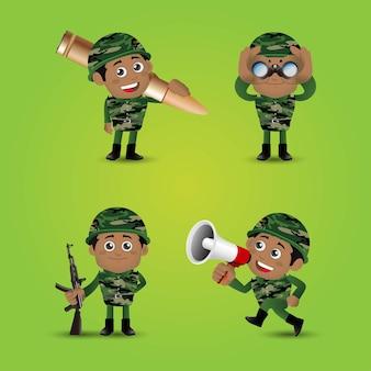 Set von armeesoldaten in uniform mit unterschiedlicher aktion