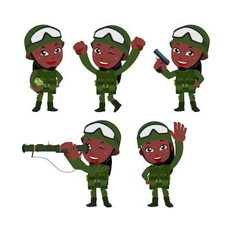 Set von armeesoldaten mann in uniform mit unterschiedlicher aktion