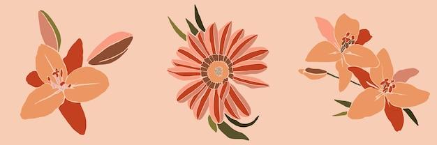 Set von art collage lilienblume in einem minimalen trendigen stil. silhouette von lilienpflanzen in einem zeitgenössischen, einfachen abstrakten stil auf rosafarbenem hintergrund. vektor-illustration für t-shirt print, karte, poster