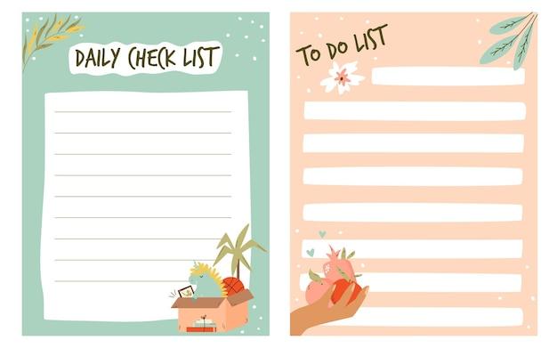 Set von aufgaben, checklisten, planern in einem niedlichen stil. vektor-illustration