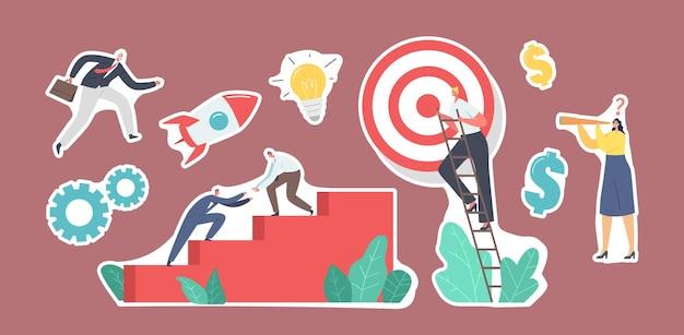 Set von aufklebern business characters team treppensteigen mit ziel an der spitze. geschäftsleute, der nächste schritt, um das ziel zu erreichen. teamwork und führung, herausforderung, start-up-konzept. cartoon-vektor-illustration