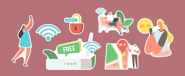 Set von aufklebern charaktere verwenden das internet auf laptop und smartphone über eine drahtlose wlan-router-verbindung. moderne netzwerktechnologie, kostenloser wlan-hotspot, karten-geolocation. cartoon-menschen-vektor-illustration