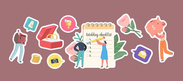 Set von aufklebern, die hochzeit planen, männliche und weibliche charaktere an der checkliste für die planer-füllung vor der hochzeitszeremonie. goldringe, sparschwein, blumen und geld. cartoon-menschen-vektor-illustration