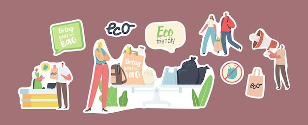 Set von aufklebern, die leute besuchen, mit wiederverwendbaren öko-taschen und verpackungen. männliche und weibliche charaktere verwenden ökologische verpackungen zum einkaufen im geschäft. umweltschutz. cartoon-vektor-illustration