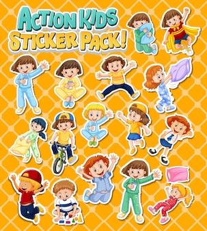 Set von aufklebern mit kindern, die verschiedene aktivitäten ausführen
