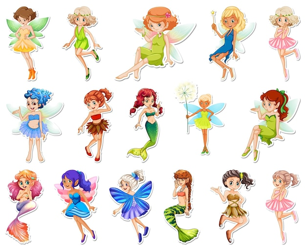 Set von aufklebern mit schönen feen und meerjungfrau-cartoon-figur