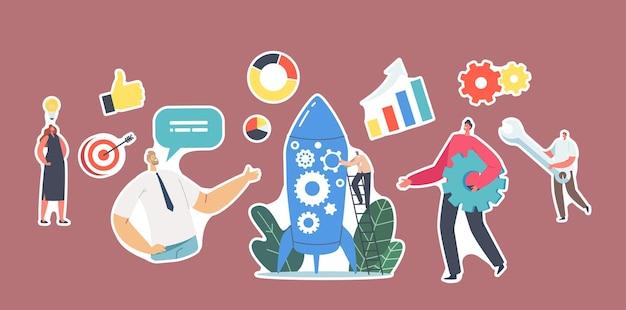Set von aufklebern neues teammitglied newcomer-charakter nehmen sie am raketenstart teil, geschäftsleute starten das startup-business-projekt. finanzielle ideenplanung, strategie. cartoon-menschen-vektor-illustration
