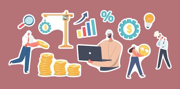 Set von aufklebern wert engineering. ingenieure charaktere in hüten, die arbeiten, sammeln goldmünzen in stapeln, turmkran ziehen riesige ausrüstung, menschen sparen geld, erhöhen das wertkonto. cartoon-vektor-illustration