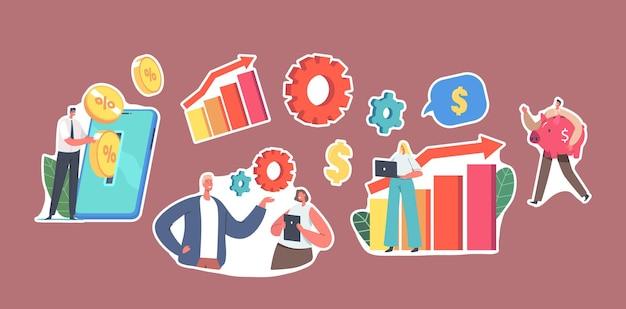 Set von aufklebern winzige charaktere setzen goldene münzen in einen riesigen smartphone-bildschirm und machen mobile einsparungen und ein online-finanzanlagekonto, sparschwein. cartoon-menschen-vektor-illustration