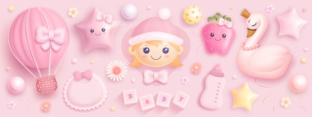 Set von babyparty-elementen