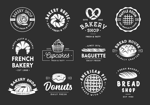 Set von bäckereien im vintage-stil beschriftet abzeichen, embleme und logos