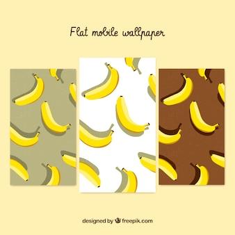 Set von bananen-tapeten für handy