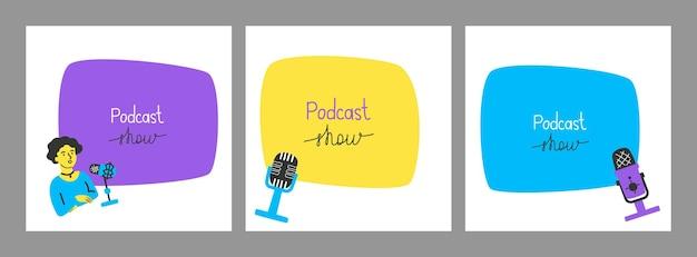 Set von bannern mit mikrofonen, einem radiomoderator und freiem platz für ihren text in einem handgezeichneten stil m