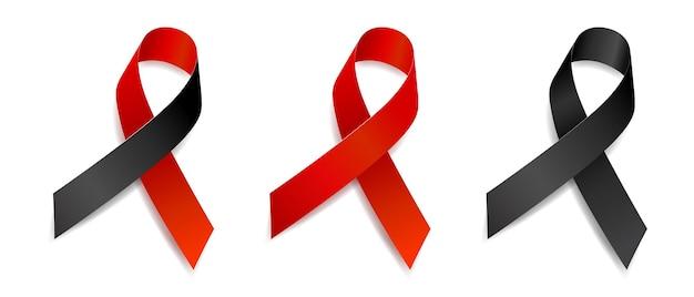 Set von baumbandbewusstsein blutkrebs, herzkrankheiten, aids, tuberkulose, anti-terror, schlaflosigkeit, melanom, gedenkstätten, hautkrebs, sepsis. isoliert auf weißem hintergrund. vektor.