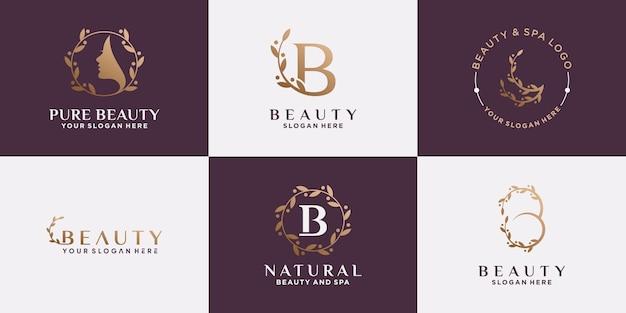 Set von beauty-logo-design für frauen mit kreativem, modernem konzept. das symbollogo kann für schönheitssalon, kosmetik und spa verwendet werden