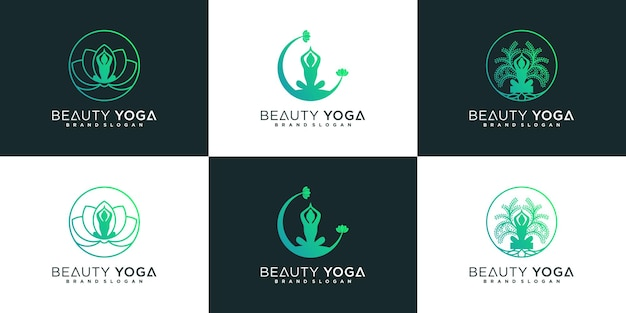 Set von beauty-yoga-logo-design mit moderner strichzeichnung und coolem farbverlauf premium-vektor