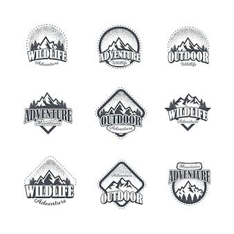 Set von berg- und outdoor-abenteuer logos