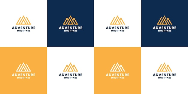 Set von bergabenteuer-monogramm-logo-design mit buchstaben a kombinieren