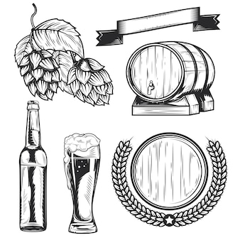 Set von bierelementen zum erstellen eigener abzeichen, logos, etiketten, poster usw.