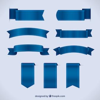 Set von blauen bändern in realistischen stil