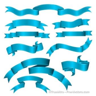 Set von blauen bändern