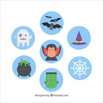 Set von blauen runden halloween aufklebern
