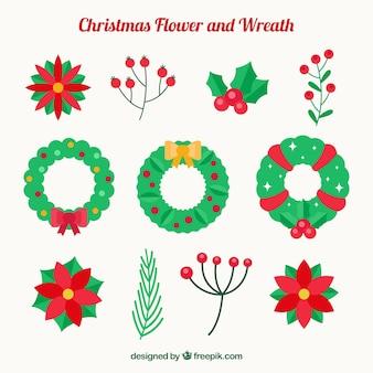 Set von blumenkränzen und natürlichen weihnachts-elemente
