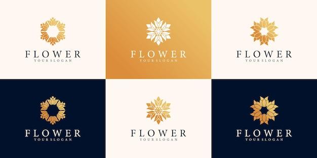 Set von blumenlogo-designschablone mit goldenem farbverlaufskonzept premium-vektor
