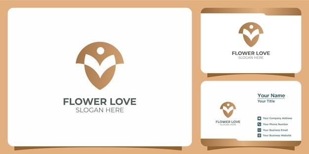 Set von blumenlogos eine kombination aus liebe und visitenkarten