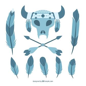 Set von boho elemente in den blauen tönen