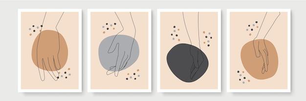 Set von boho-postern mit wandkunstdekor im gestenstil