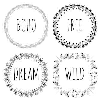 Set von boho style frames und handgezeichneten elementen.