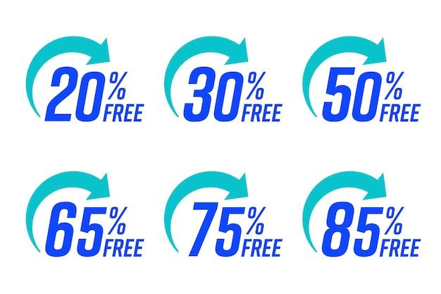 Set von bonussymbolen oder handelsgutscheinen für die kostenlose versandlieferung