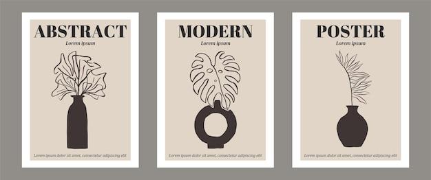 Set von botanischen zeitgenössischen wandkunstplakaten tropische strichzeichnungen mit abstrakter form